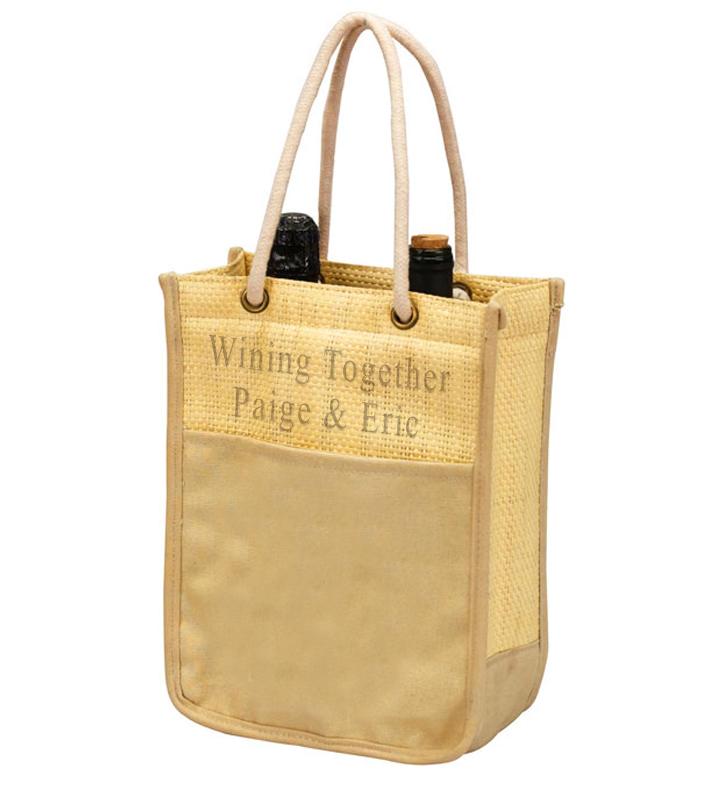 Double Wine Bottle Cotton Canvas Tote Bag Carrier