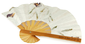Bamboo Flower Petal Wedding Fan