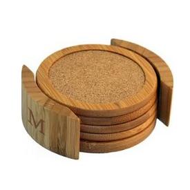 Eco-Green Bamboo Cork Coasters Set