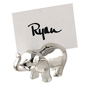 Silver Elephant Placecard Holder