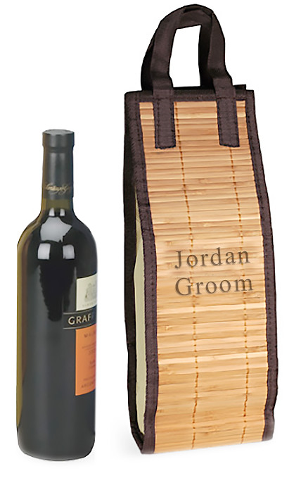 Personalized Bamboo Wine Tote Carrying Bag
