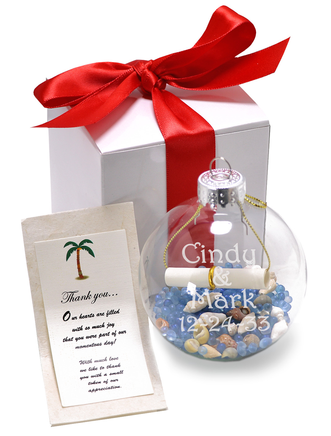 Personalized Seashell Scented Potpourri in an Clear Glass Ornament