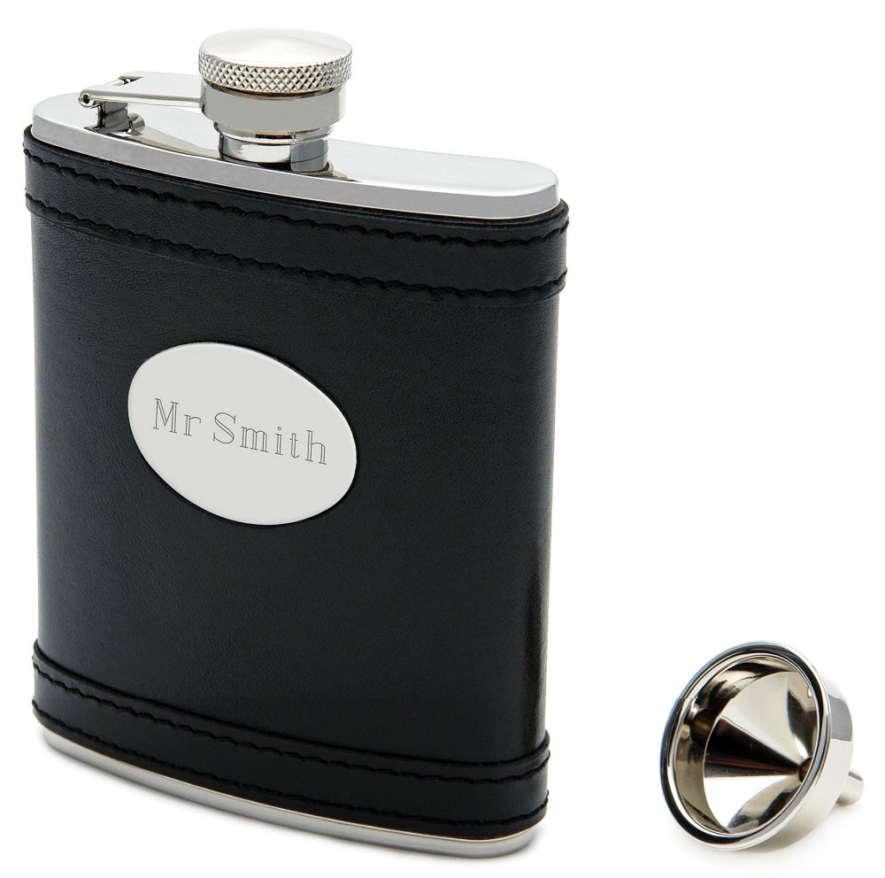 Engraved Black Leather Flask