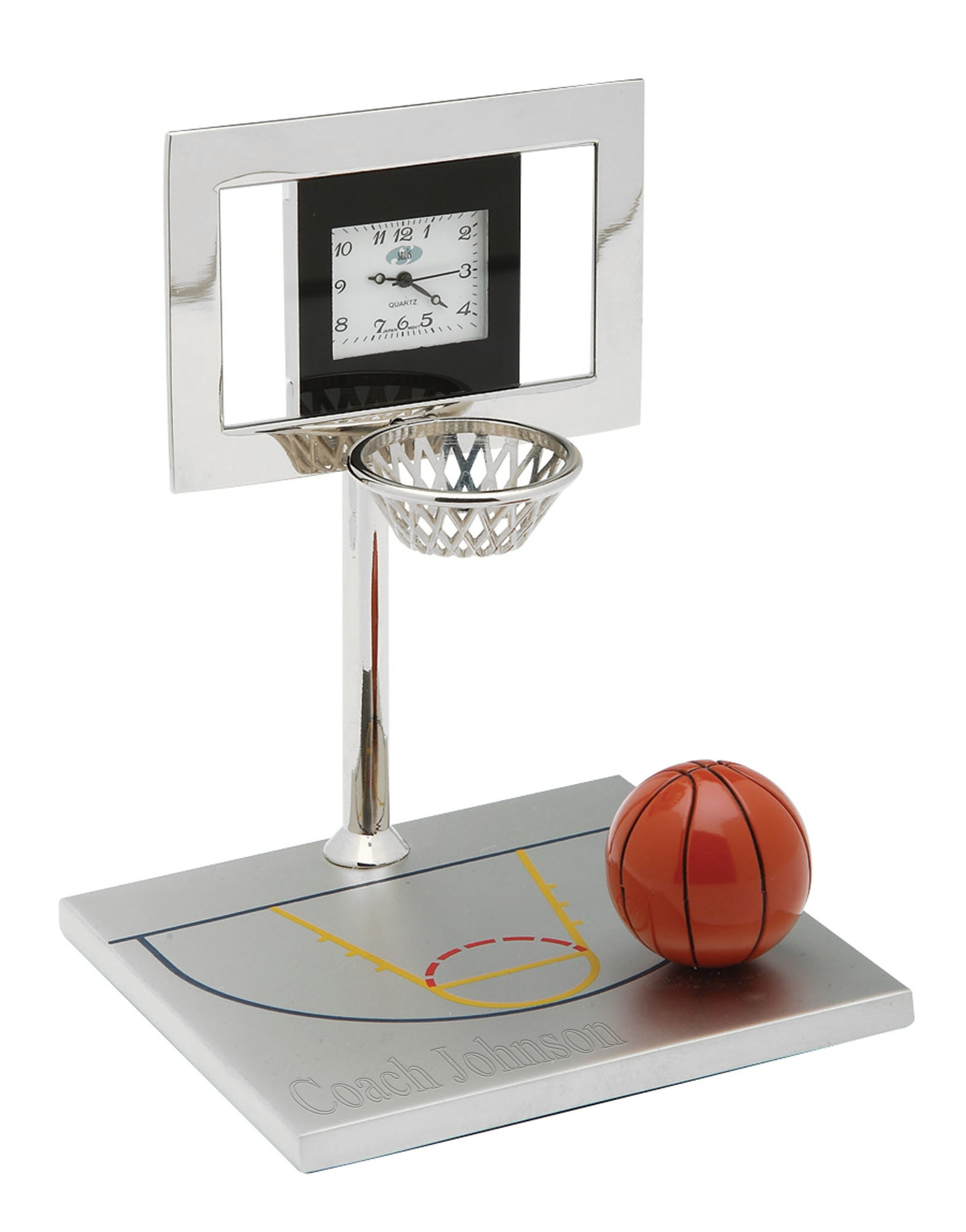 Personalized Silver Basketball Coach Award Court Clock