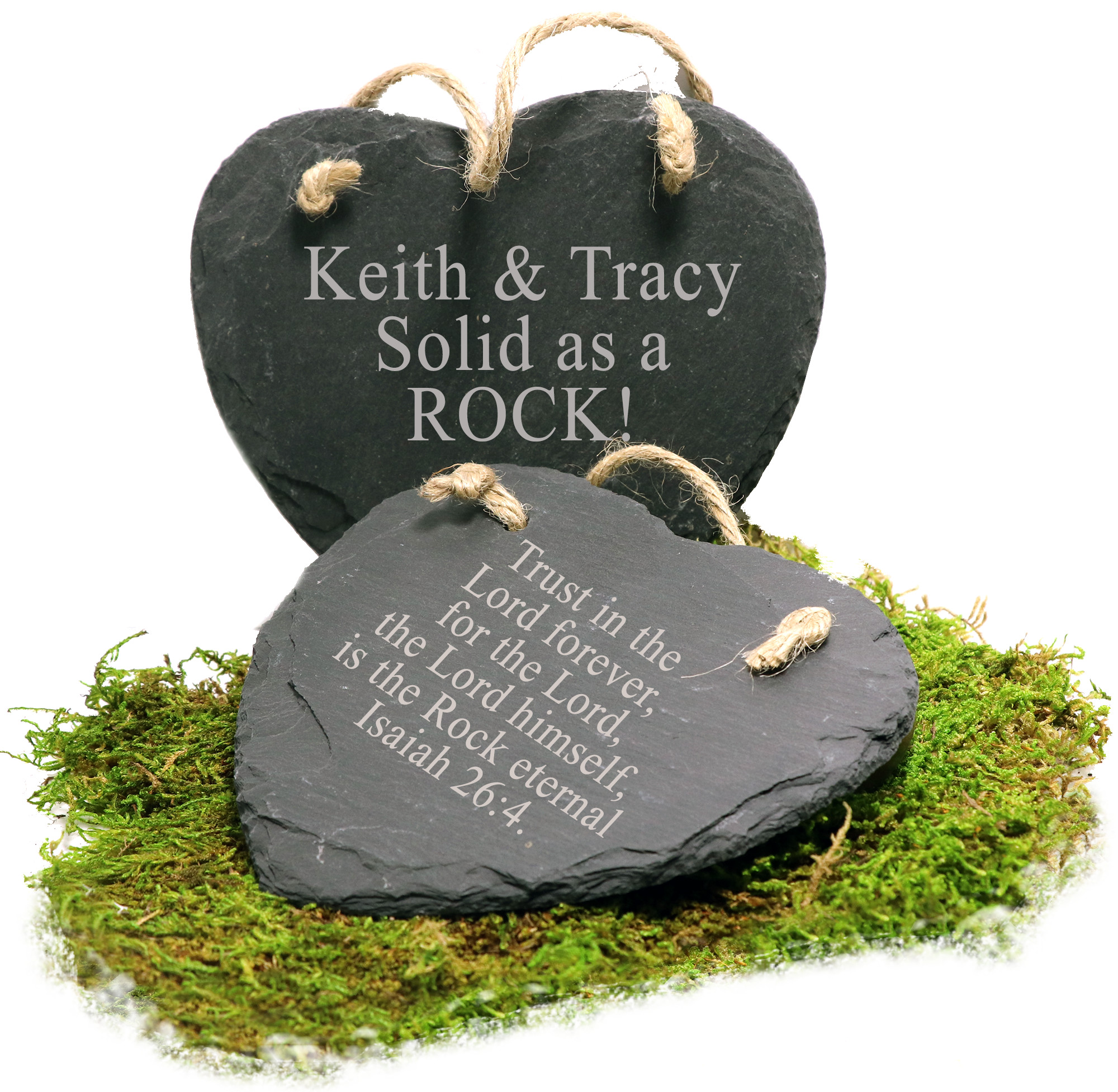 """Engraved """"Solid as a Rock"""" Granite Heart Ornament with Jute Hanger"""