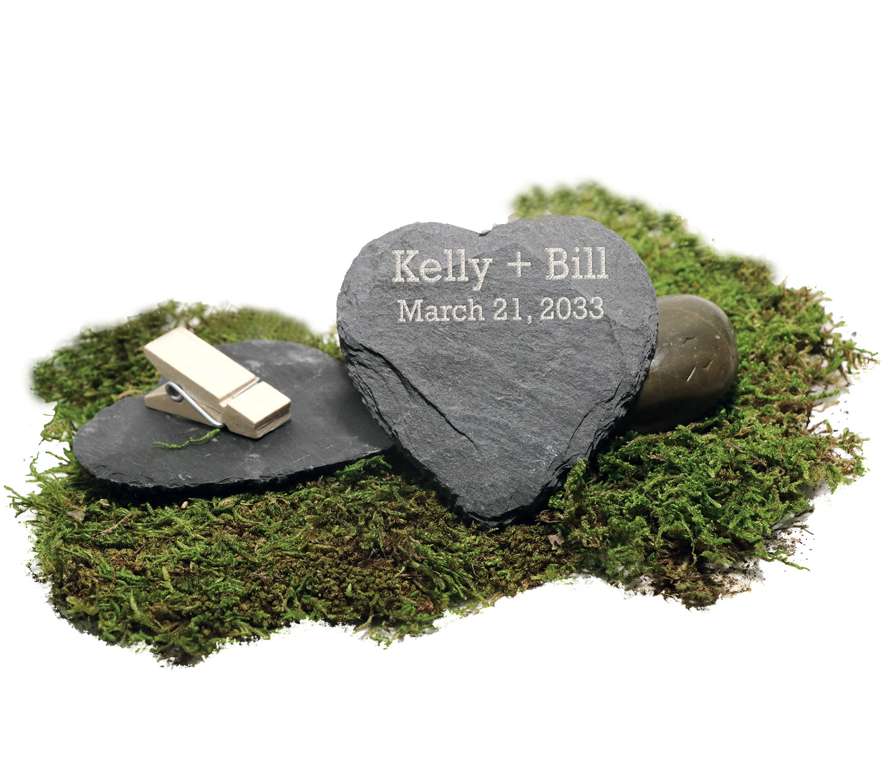 """Personalized """"Solid as a Rock"""" Granite Heart Slate with Wooden Clothespin"""
