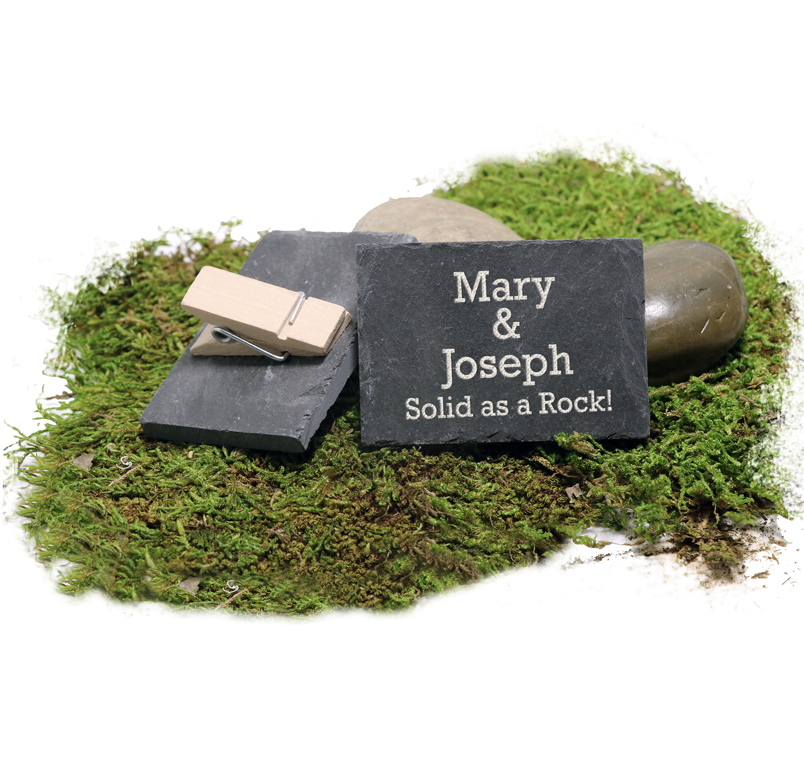 """Engraved """"Solid as a Rock"""" Granite ID Slate with Wooden Clothespin"""