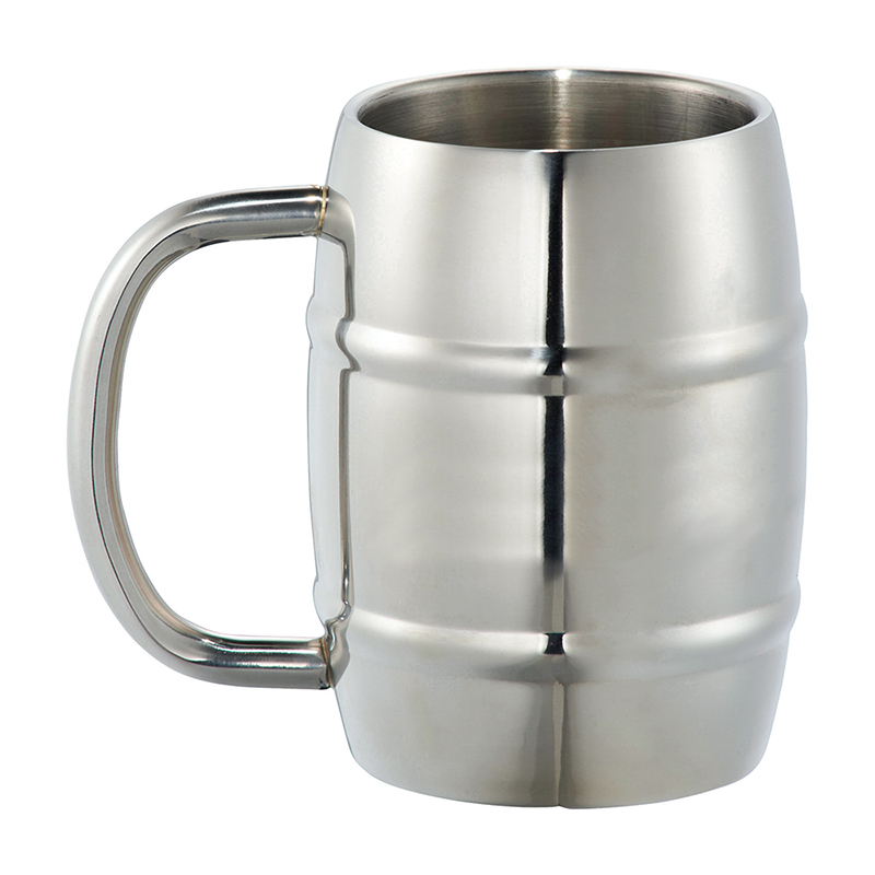 14 oz Personalized Silver Growl Double Wall Stainless Barrel Mug