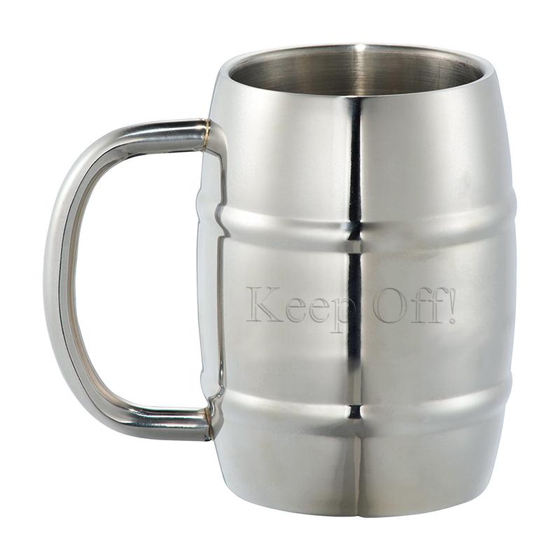 14 oz Personalized Silver Growl Stainless Barrel Mug