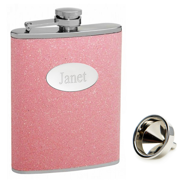 Personalized Pink Glitter Flask*