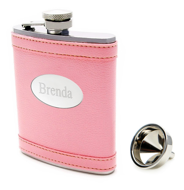 Engraved Pink Leather Flask