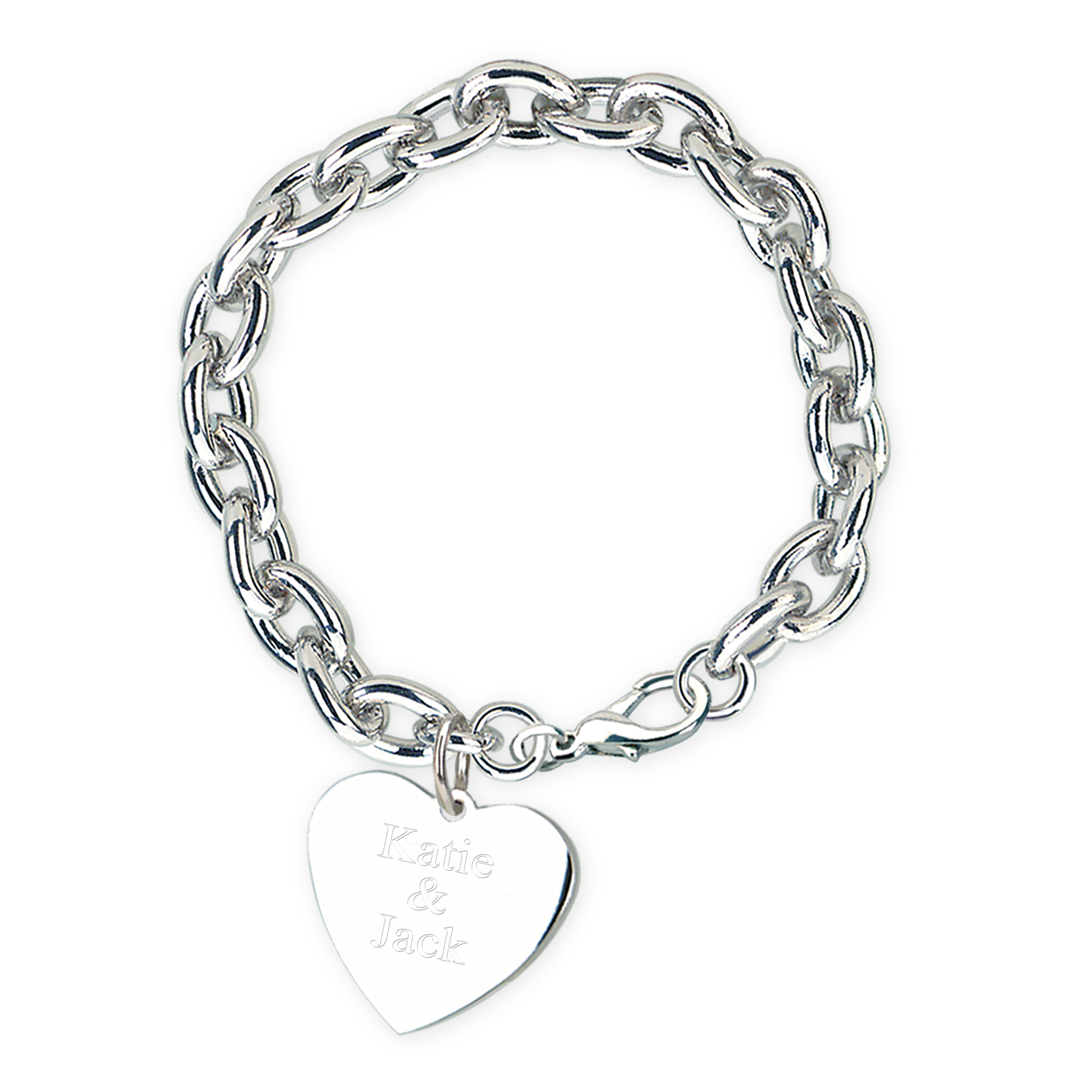 Polished Silver Heart Charm Link Bracelet with Lobster Clasp Closure