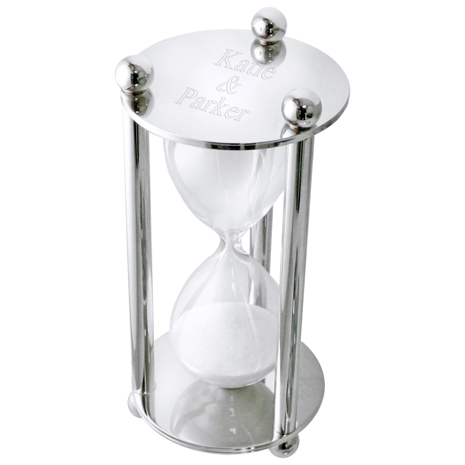 Personalized Silver Executive Hourglass Sand Timer