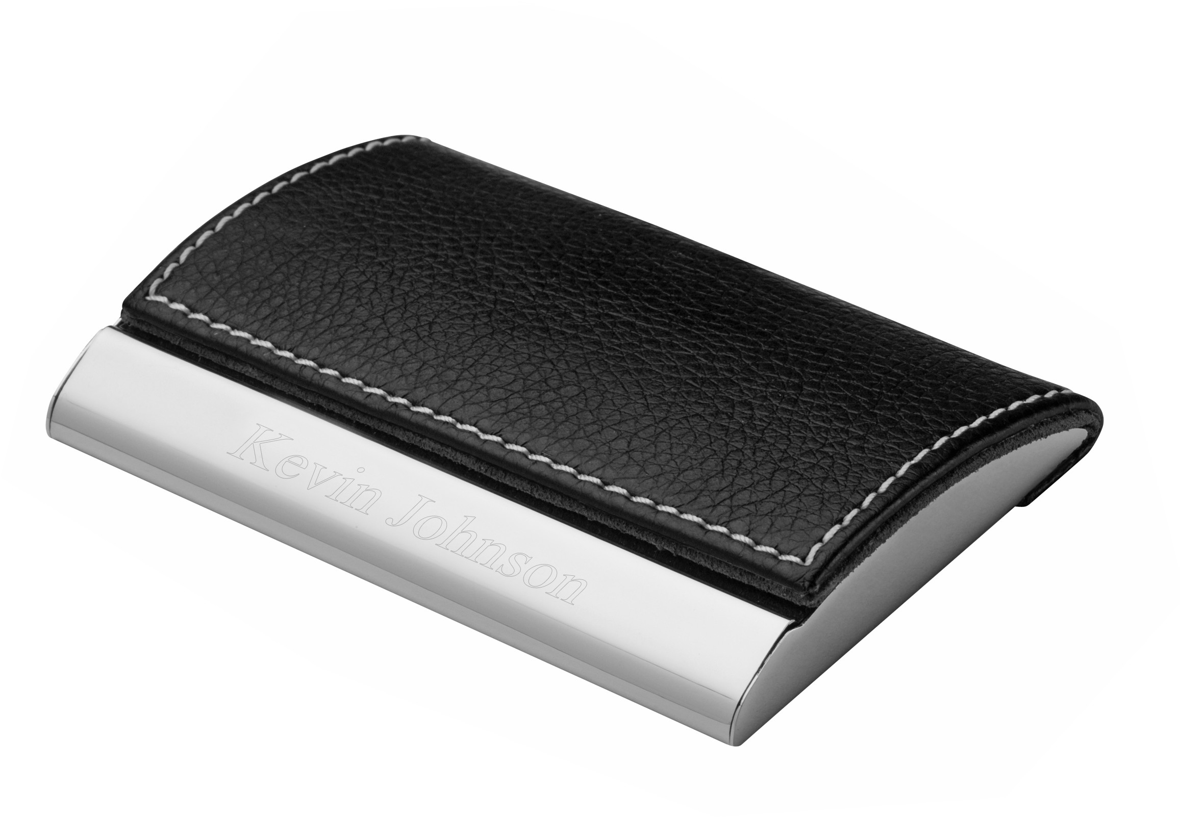 executive black leather business card case - Leather Business Card Case