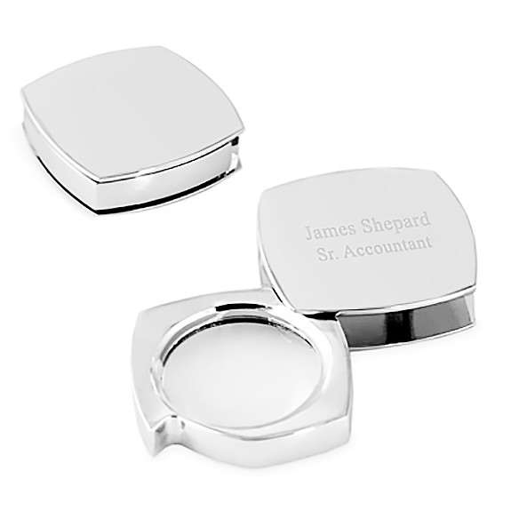 Polished Square Silver Office Paper Weight Magnifying Glass