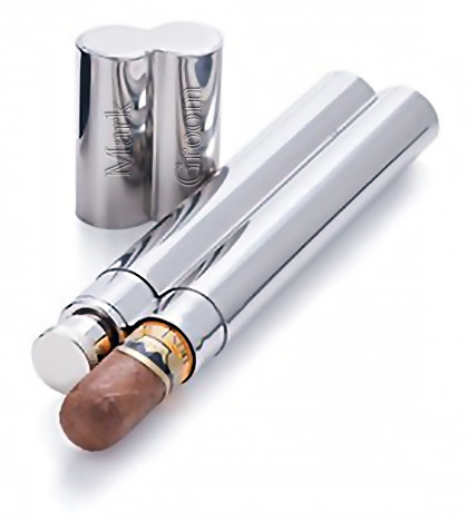 Engraved Stainless Steel Cigar Case & Flask