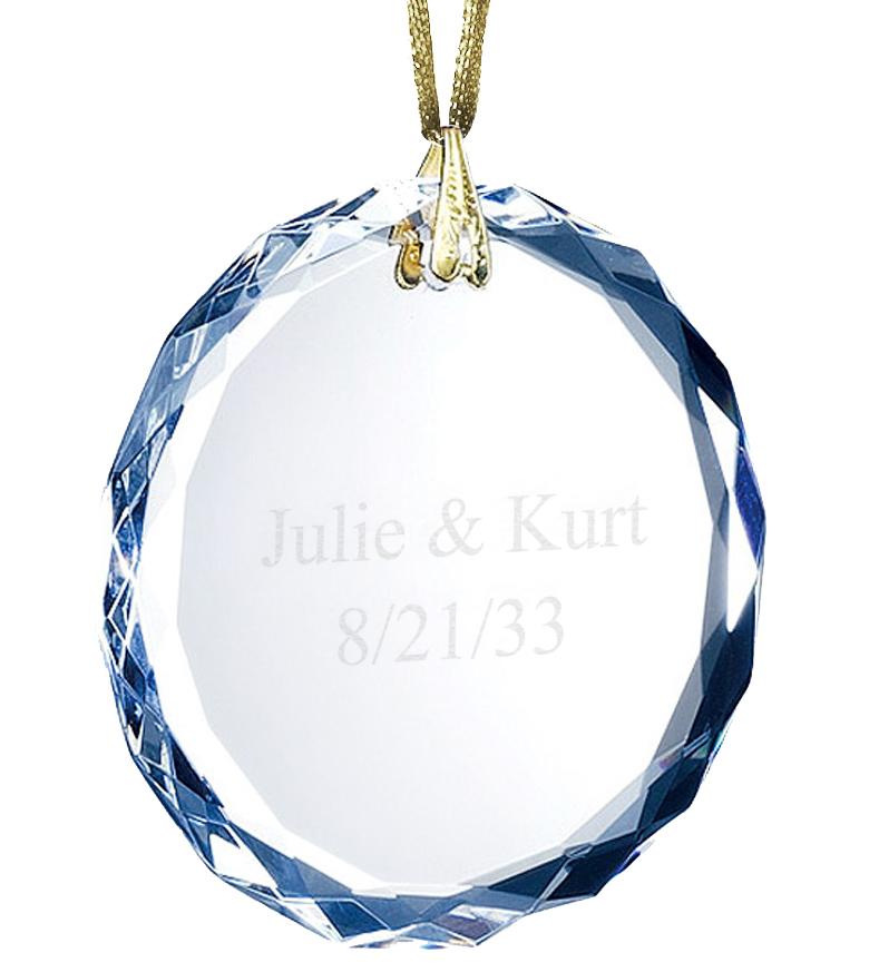 Round Gem Cut Optic Crystal Ornament