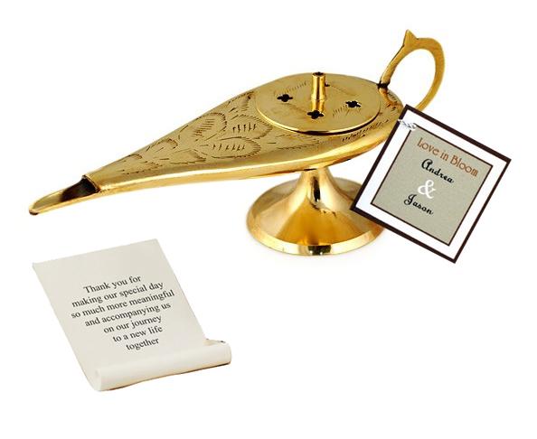 Gold Aladdin Genie Lamp Incense Message Holder