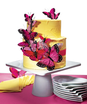 Hand Painted Romantic Pink Butterfly Cake Decoration