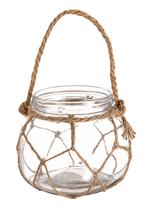 Nautical Hanging Glass Vase with Hemp Rope*