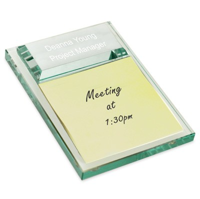 Executive Sticky Pad Glass Notepad Holder