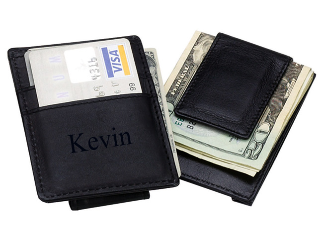 Executive Black Leather Credit Card & Money Clip