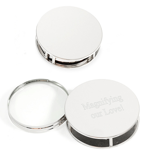 Polished Round Silver Office Paper Weight Magnifying Glass