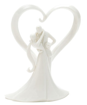 Sophisticated Porcelain Bride & Groom Heart Cake Topper