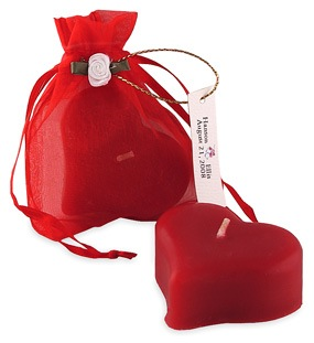 Wedding Heart Candle In Organza Bag*