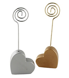 Metallic Silver Wedding Wood Heart Placecard Holder
