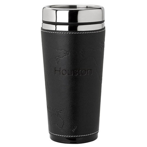 Black Leather World Map World Steel Tumbler*