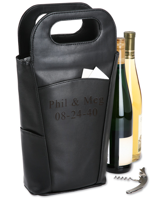 Personalized Double Cooler Insulated Wine Bottle Tote Bag with Stainless Steel Corkscrew
