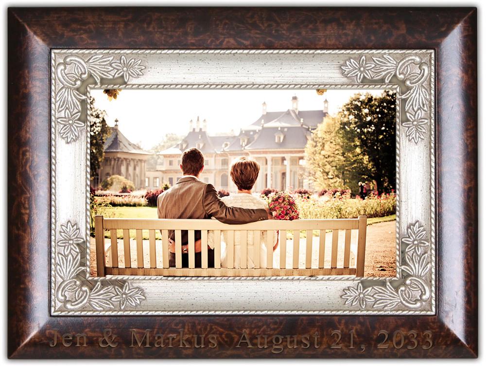 Italian Antique Style Burl Wood 4 X 6 Photo Frame Music Box