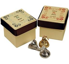 Italian Floral Ivory Wedding Favor Box