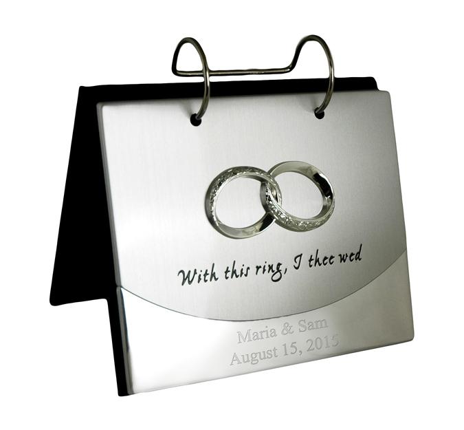 "4"" x 6"" Silver Wedding Band Flip Photo Album"