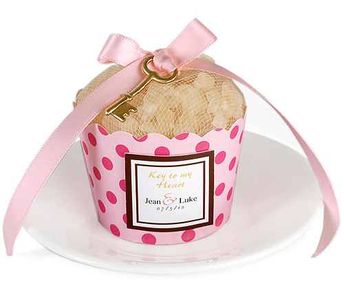Key To My Heart Ribbon Bath Salts Cupcake Favor
