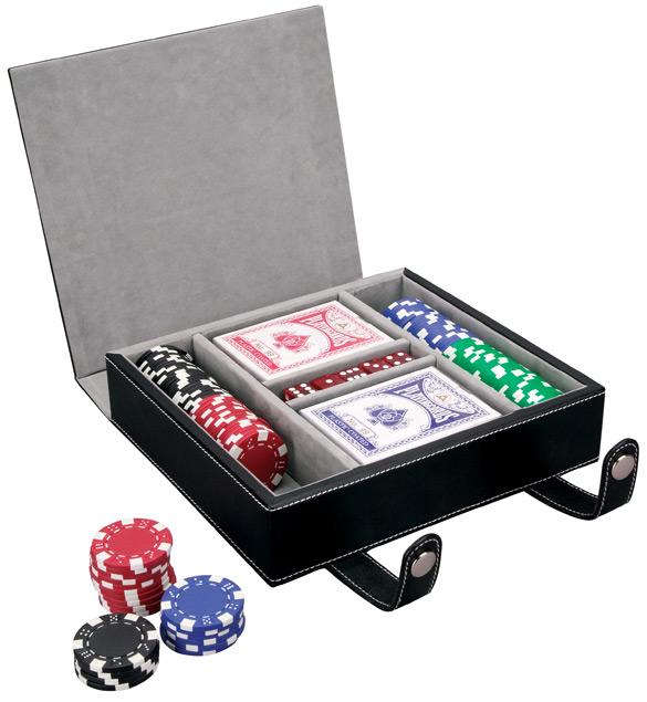 Leather Case Poker Cards and Chips Set