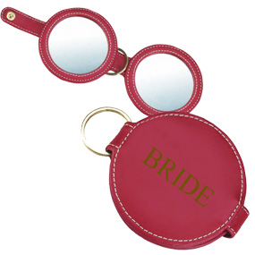 Key Ring Leather Dual Compact Mirror