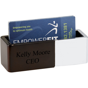 Polished Metal and Wood Business Card Holder*