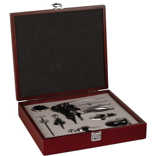Deluxe Wine Accessories in Mahogany Wood Box