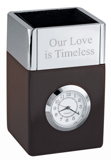 Polished Metal & Wood Pencil Cube Office Clock*