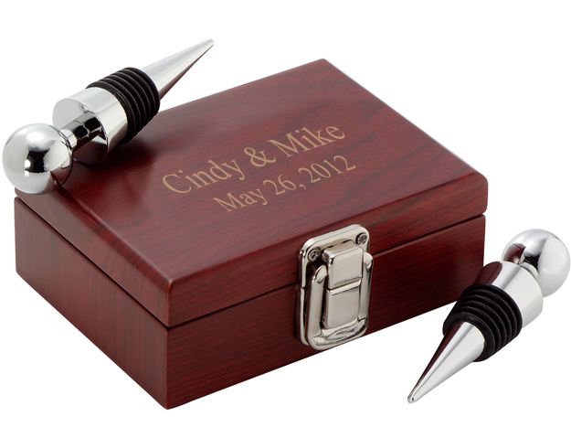 Double Wine Stopper Wood Box Set