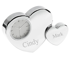 Silver Double Heart Desktop Clock*