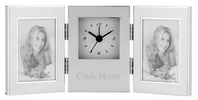 "Silver 2"" x 3""  Double Photo Frame Alarm Clock"