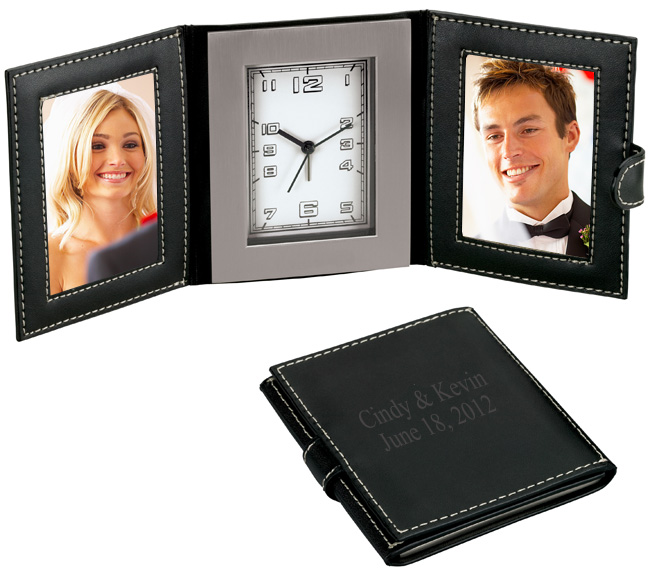 Leather Photo Frames Travel Desk Clock