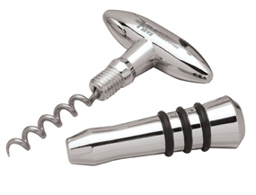 Silver Wine Stopper and Cork Screw Set