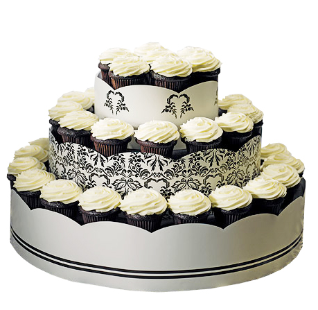 Love Bird Damask Wedding Cupcake Tower Display Kit