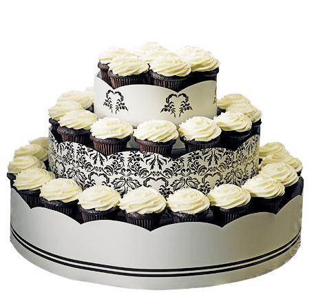 Love Bird Damask Wedding Cupcake Tower Display Kit
