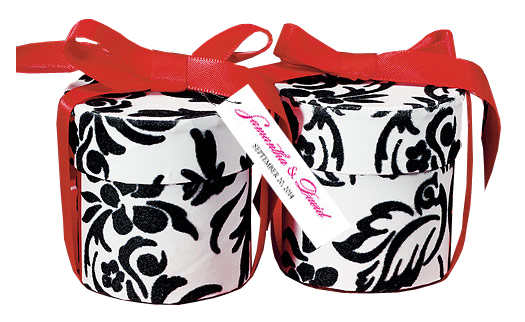 Love Bird Damask Cylinder Box