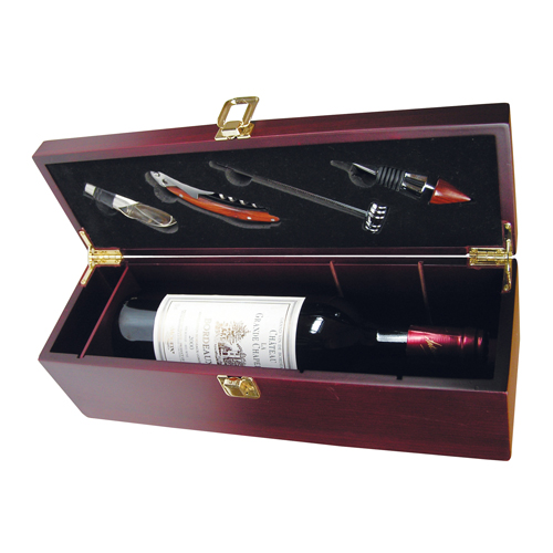 Mahogany Wine Box with Service Set